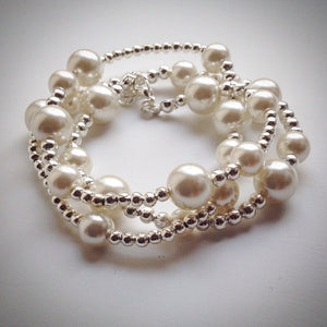 Beaded 'Lacelet' - necklace and bracelet - silver and pearl - eDgE dEsiGn London