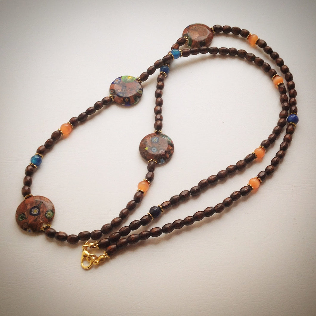 Beaded necklace - Millefiori discs, Orange Tigers Eye, Blue Agate and Wood - eDgE dEsiGn London