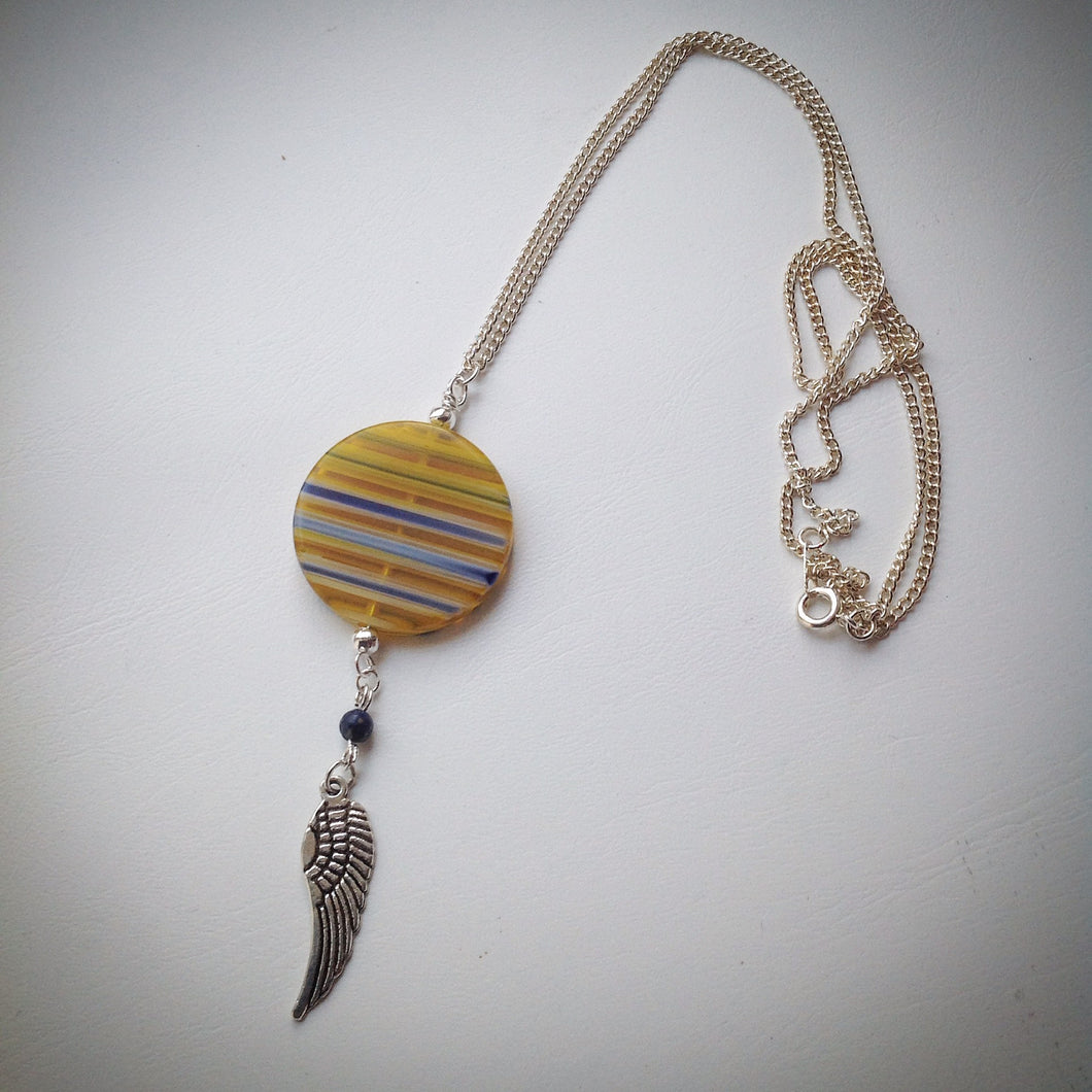 Silver plated chain with pendant - Yellow Millefiori Disc bead, Lapis Lazuli, Silver Wing Pendant - eDgE dEsiGn London