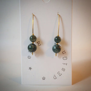 Gold Drop Earrings - Moss Green Agate beads - eDgE dEsiGn London