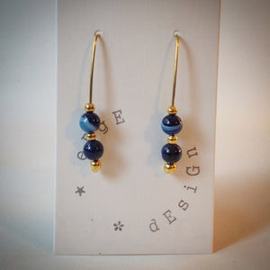 Gold Drop Earrings - Blue Banded Agate beads - eDgE dEsiGn London