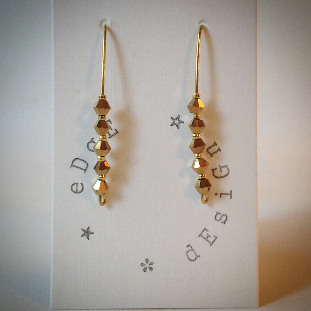 Gold Drop Earrings - Bronze Swarovski Crystals - eDgE dEsiGn London