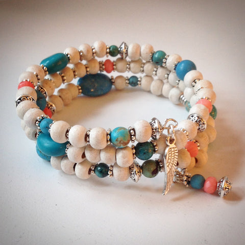 Beaded memory wire bracelet - White, Coral, Turquoise with Wing Pendant - eDgE dEsiGn London