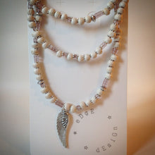 Beaded necklace - White wooden beads, lilac beads and wing pendant - eDgE dEsiGn London