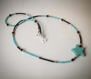 Beaded necklace - black, turquoise and silver beads with large turquoise star - eDgE dEsiGn London
