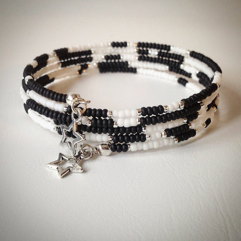 Beaded memory wire bracelet - black, white, silver beads and silver stars - eDgE dEsiGn London