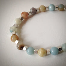 Beaded bracelet - multi-coloured Amazonite and silver cube beads - eDgE dEsiGn London