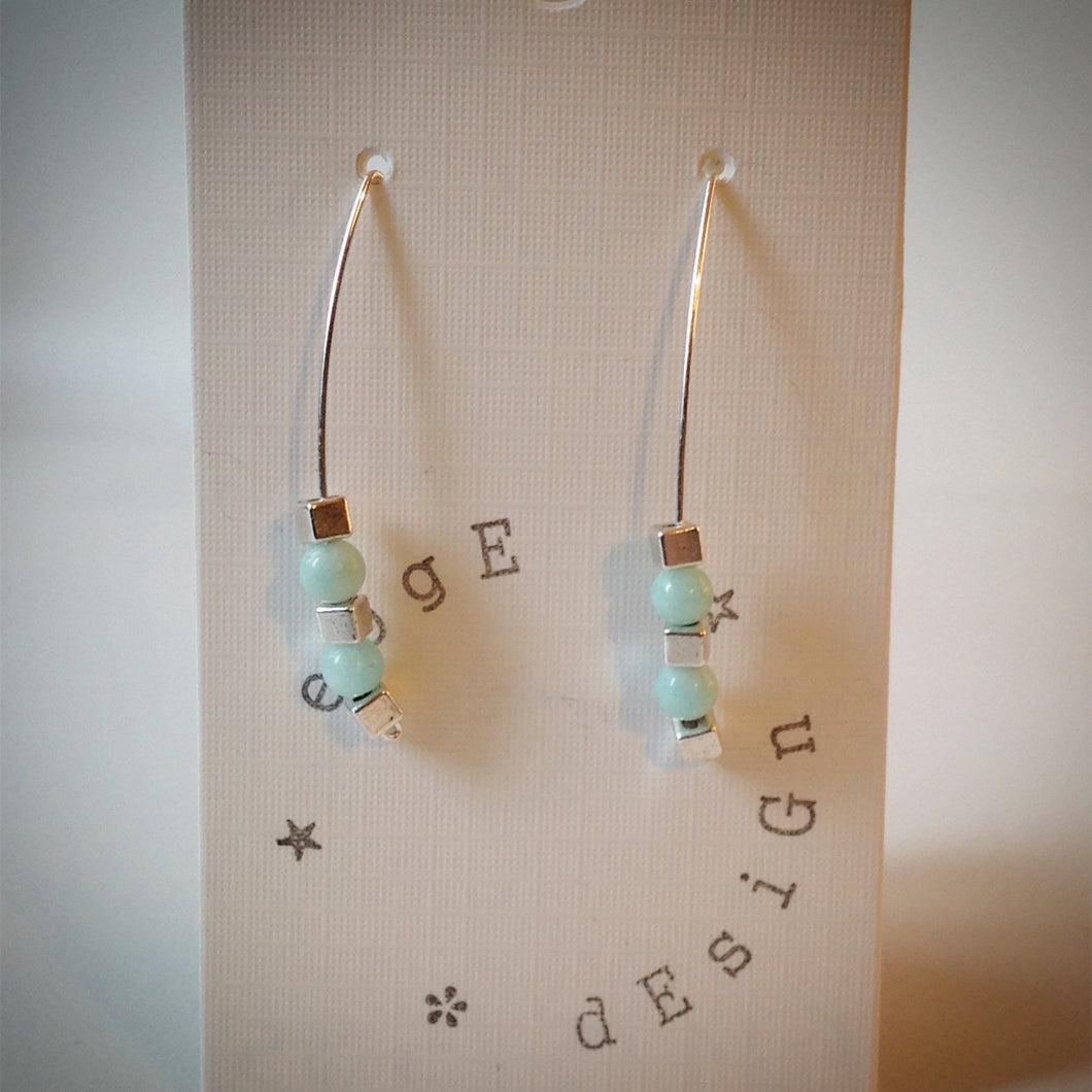 Silver wire drop earrings - Turquoise Malaysian Jade and silver cubes