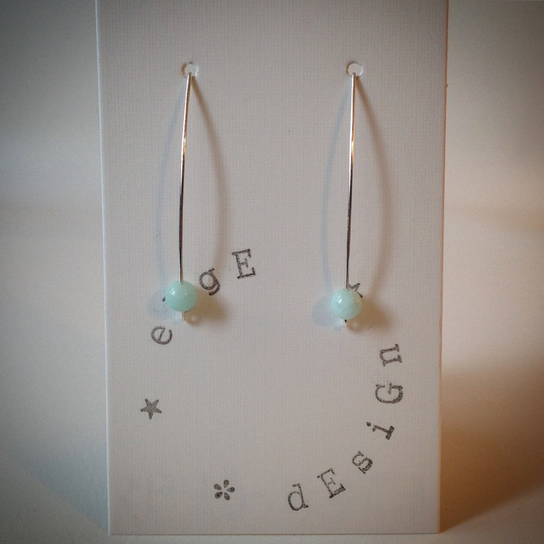Silver wire drop earrings - Turquoise Malaysian Jade bead