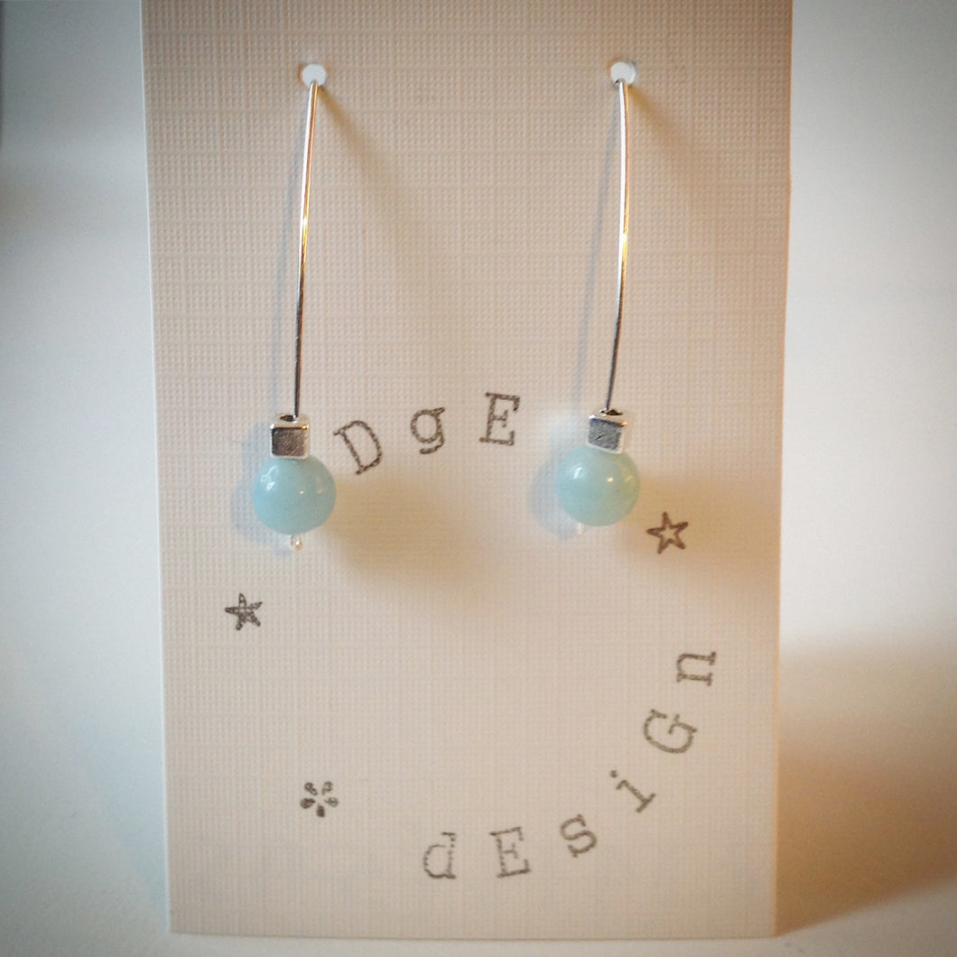 Silver wire drop earrings - Amazonite Bead and Silver Plated Cube Bead - eDgE dEsiGn London