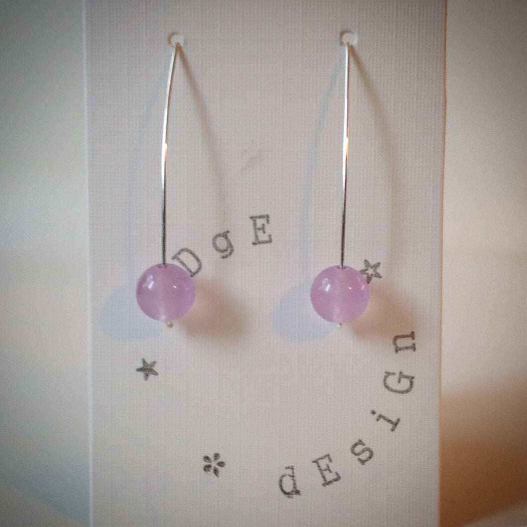 Silver Wire Drop Earrings - Lilac Malaysian Jade Bead