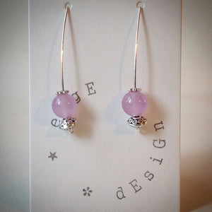 Silver Wire Drop Earrings - Lilac Malaysian Jade Bead and Antique Silver Beads - eDgE dEsiGn London