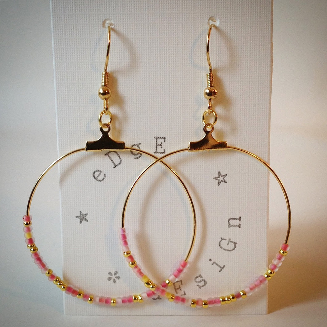 Gold plated hoop earrings - gold and frosted pink seed beads - eDgE dEsiGn London