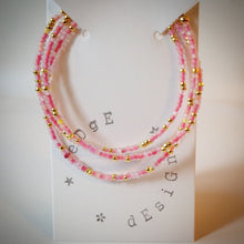 Beaded Lacelet - necklace and bracelet - pink and gold beads - eDgE dEsiGn London