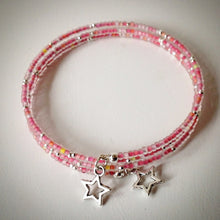 Beaded memory wire bracelet - silver and pink frosted seed beads and star pendants - eDgE dEsiGn London