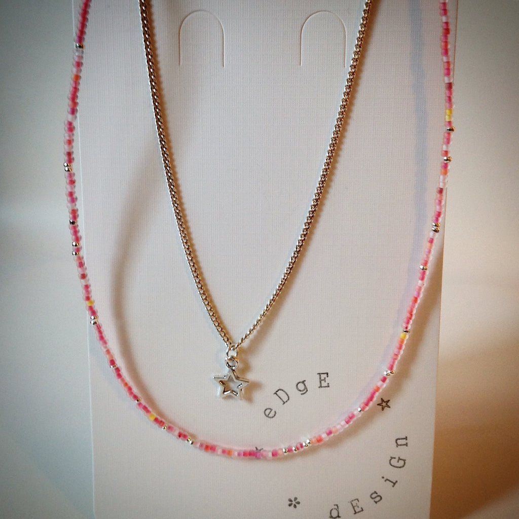 Beaded necklace with silver chain - silver and pink beads and star pendant - eDgE dEsiGn London