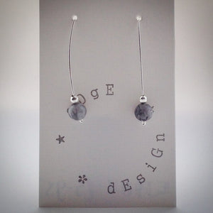 Silver Wire Drop Earrings - Black/White Snowflake Obsidian and Silver bead - eDgE dEsiGn London