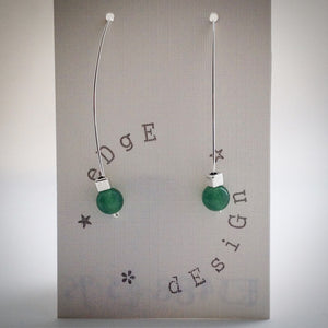 Silver Wire Drop Earrings - Malaysian Jade and Silver Cube