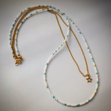 Beaded necklace with gold chain - white and turquoise beads and star pendant - eDgE dEsiGn London