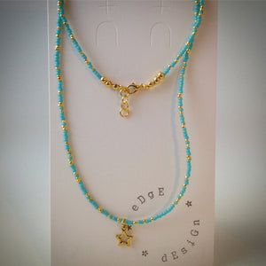 Beaded Lacelet - necklace/bracelet - turquoise and gold beads - eDgE dEsiGn London