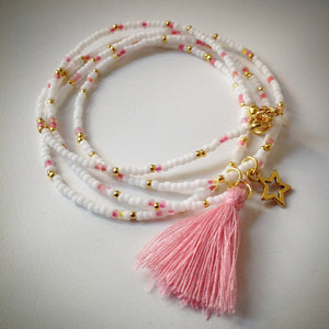 Beaded lacelet - necklace/bracelet - white, pink and gold, tassel and star - eDgE dEsiGn London