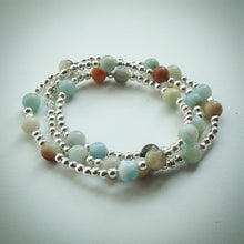 Beaded Lacelet - necklace/bracelet - multi-coloured Amazonite and silver beads - eDgE dEsiGn London