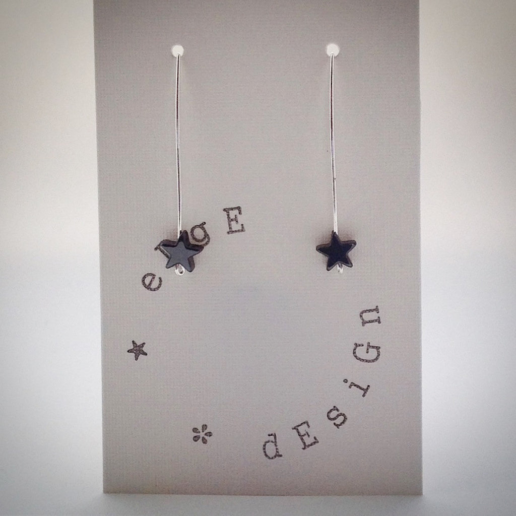 Silver wire drop earrings - Black Hematite Star - eDgE dEsiGn London
