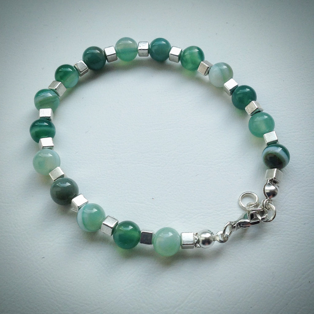 Beaded bracelet - Green Banded Agate and Silver Cube Beads - eDgE dEsiGn London