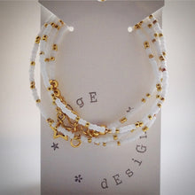 Beaded lacelet - necklace and bracelet - white, gold beads and star - eDgE dEsiGn London
