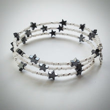 Beaded memory wire bracelet - white and silver plated beads and Hematite stars - eDgE dEsiGn London