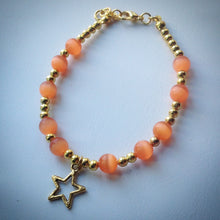 Gold beaded bracelet - Orange Tigers Eye beads and gold star - eDgE dEsiGn London