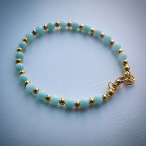 Gold beaded bracelet - Pale Turquoise Jade beads - eDgE dEsiGn London