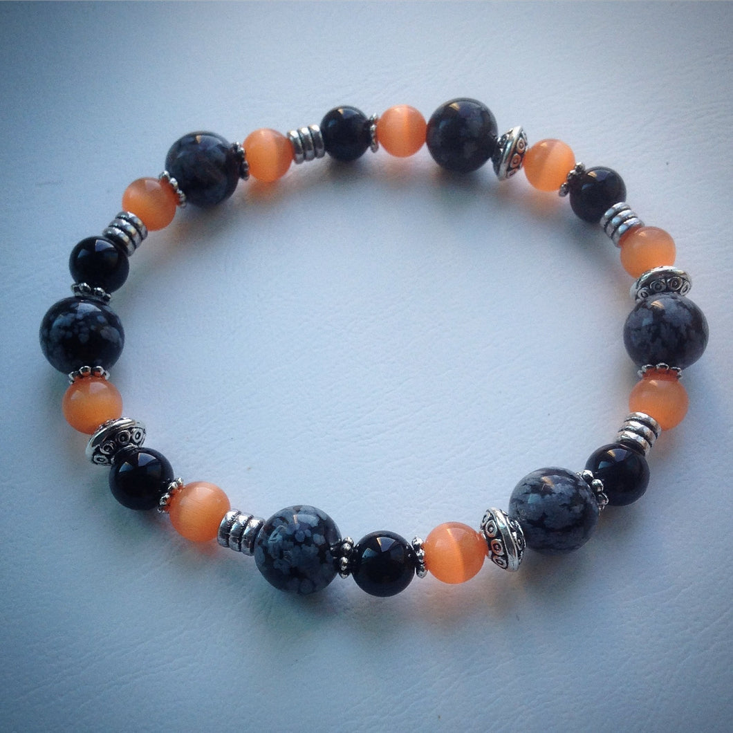 Elasticated beaded bracelet - Orange Tigers Eye, Obsidian, Onyx and Silver - eDgE dEsiGn London