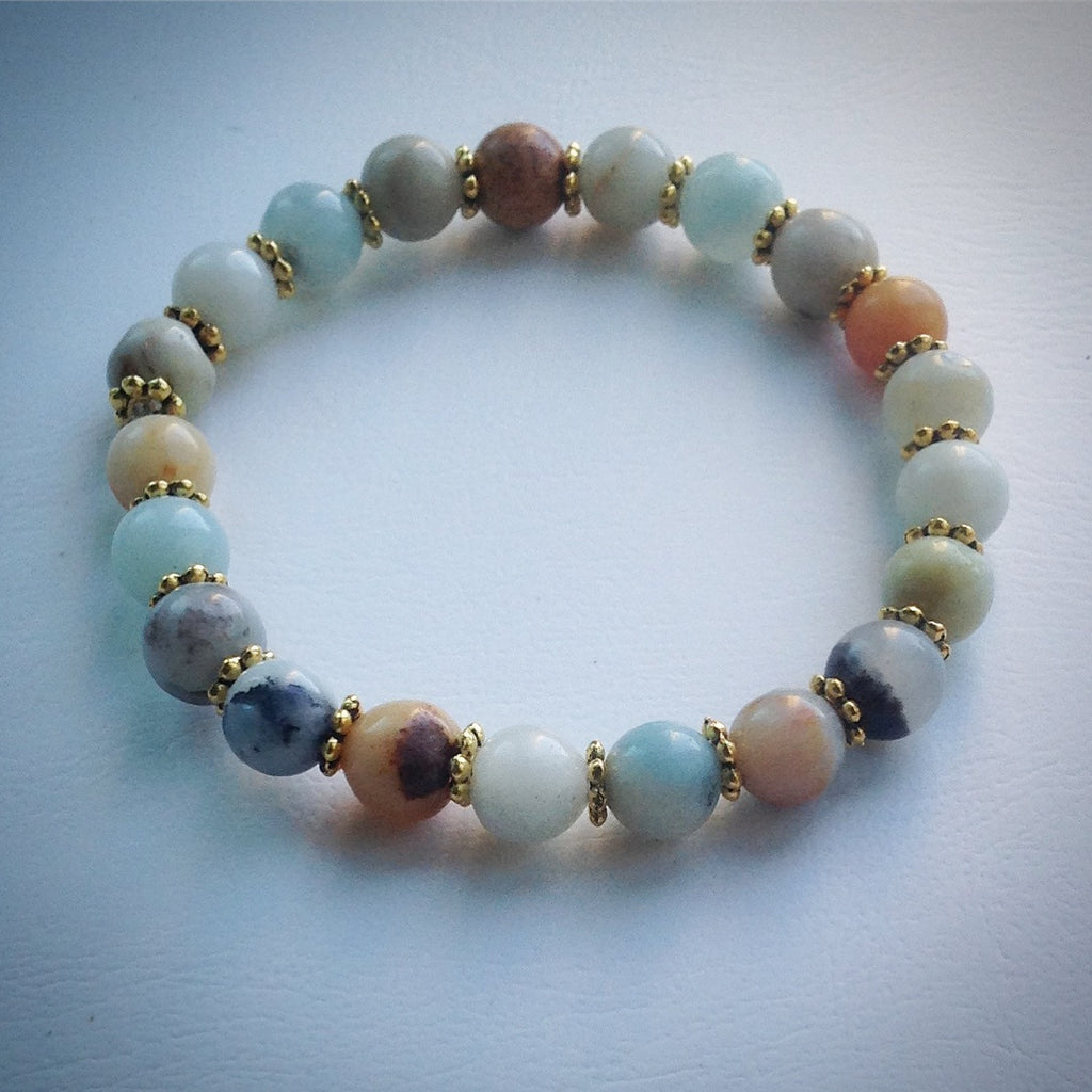 Elasticated beaded bracelet - Amazonite and gold spacer beads - eDgE dEsiGn London