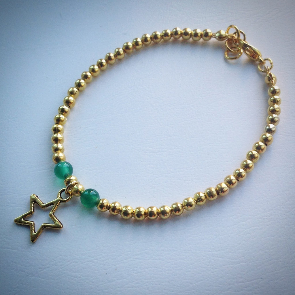 Gold beaded bracelet with Jade Beads and Gold Star - eDgE dEsiGn London