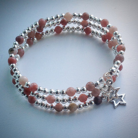 Beaded memory wire bracelet - Silver with Pink/Brown Lepidolite and Stars - eDgE dEsiGn London