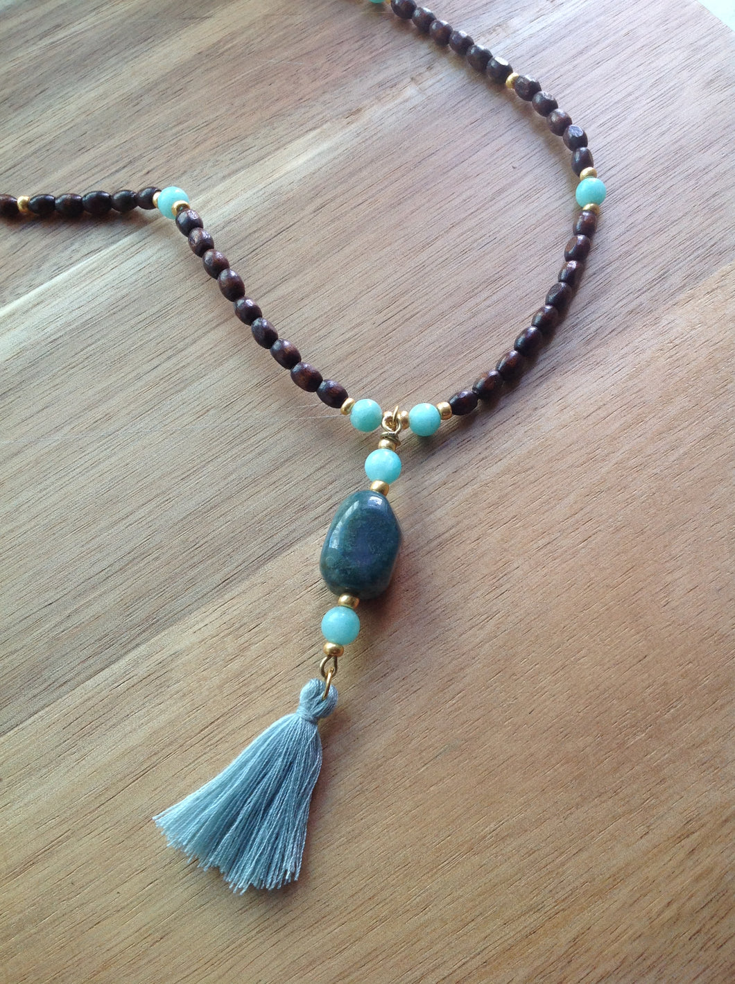 Beaded necklace - wood, turquoise Jade, gold beads, green Jasper and grey tassel pendant - eDgE dEsiGn London