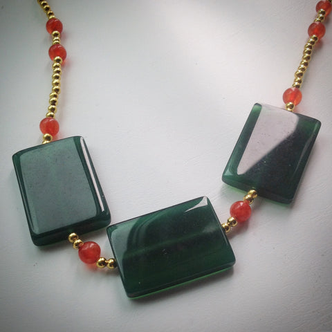 Beaded necklace - Gold beads with large Jade rectangular beads and Red/Orange/Pink Mashan Jade beads - eDgE dEsiGn London