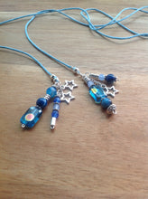Lariat necklace with pendants - Venetian Glass, Turquoise, Silver beads, stars, blue Amazonite beads - eDgE dEsiGn London