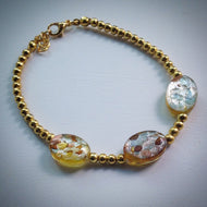 Beaded bracelet - Gold beads with oval venetian glass beads - eDgE dEsiGn London