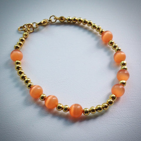 Beaded bracelet - gold beads with Orange Tigers Eye - eDgE dEsiGn London