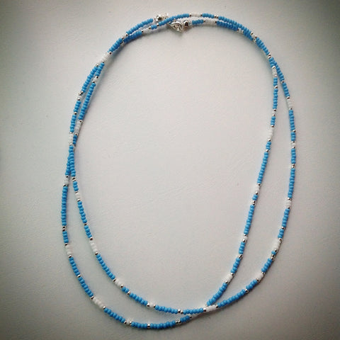 Beaded necklace - Turquoise, white and silver seed beads - eDgE dEsiGn London