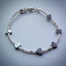 Beaded bracelet - white and silver seed beads with grey Hematite hearts - eDgE dEsiGn London