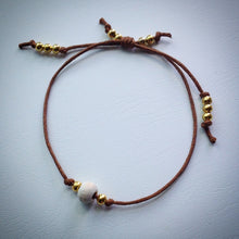 Adjustable sliding knot cord bracelet - brown with vintage white wooden bead and gold beads - eDgE dEsiGn London