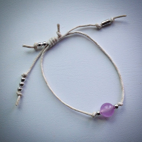 Adjustable sliding knot cord bracelet - white with lilac Malaysian Jade bead and silver beads - eDgE dEsiGn London