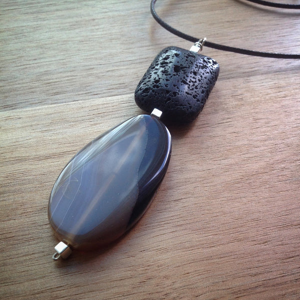 Black sliding knot cord necklace - pendant with large volcanic rock and oval brown Agate bead - eDgE dEsiGn London