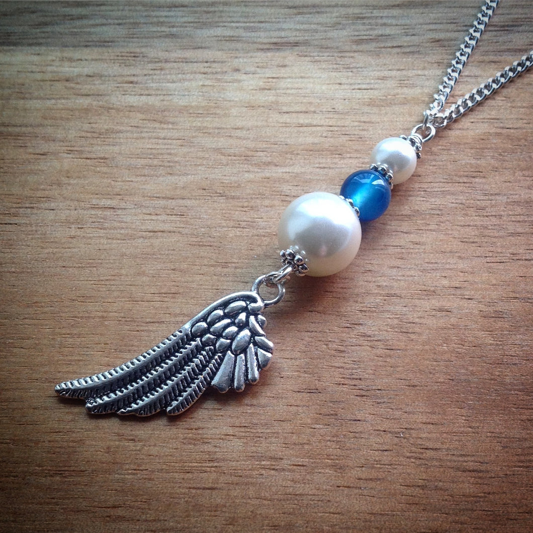 Silver chain necklace with Pearls, Blue Agate Bead and Wing Pendant - eDgE dEsiGn London