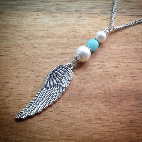 Silver chain necklace with Pearl, Turquoise Jade and Wing Pendant - eDgE dEsiGn London