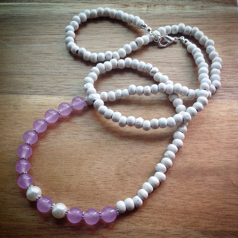 Beaded necklace - white vintage wooden beads, pearls and lilac jade beads and silver spacers - eDgE dEsiGn London