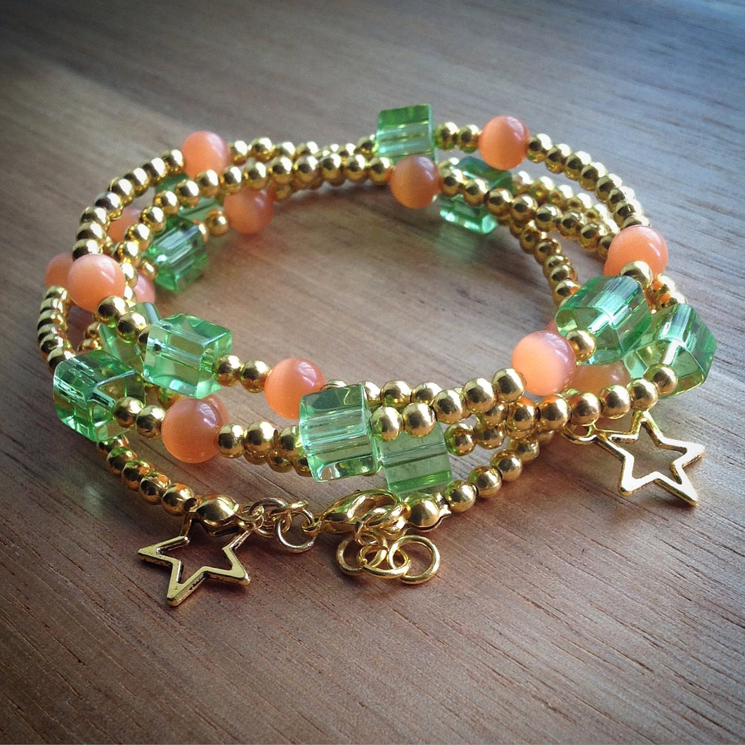 Beaded necklace/lacelet - gold beads, green glass cube and orange tigers eye beads  with gold stars - eDgE dEsiGn London
